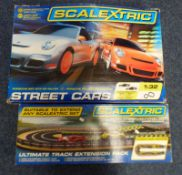 SCALEXTRIC PORSCHE STREET RACER ELECTRICAL SLOT RACING SET AND EXTRA TRACK