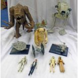 VINTAGE STAR WARS AT-ST TOGETHER WITH RANCOR AND VARIOUS FIGURES INCLUDING HAN SOLO, C3-PO,