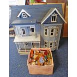 THREE STORY WOODEN DOLLS HOUSE WITH A SELECTION OF FURNITURE & ACCESSORIES.