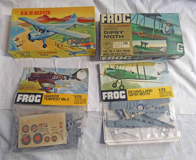 SELECTION OF UNMADE PLASTIC MODEL KITS FROM FROG INCLUDING HAWKER TEMPEST MK5, GIPSY MOTH, D.H.