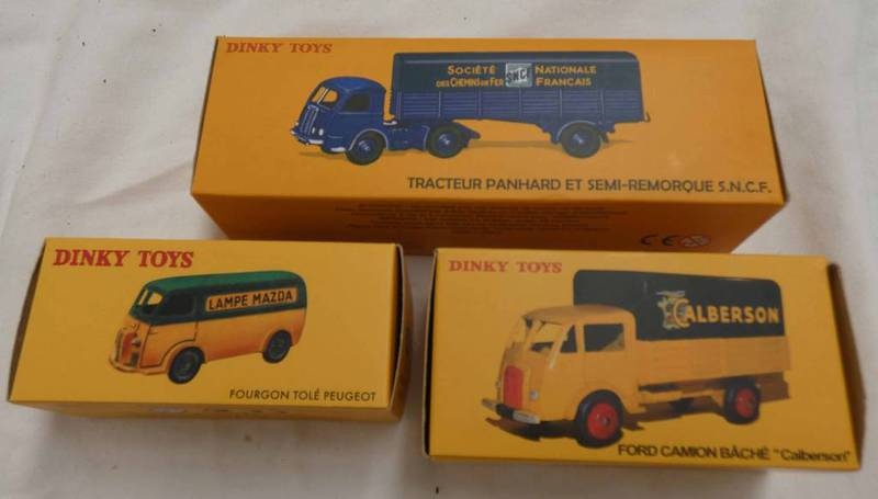THREE ATLAS EDITIONS DINKY TOYS INCLUDING 25B - FOURGON TOLE PEUGEOT TOGETHER WITH 25JJ - FORD