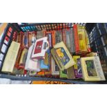 QUANTITY OF VARIOUS MATCHBOX MODELS OF YESTERYEAR & LLEDO MODEL VEHICLES INCLUDING BUSES, CARS,