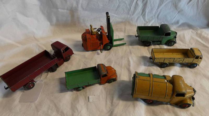 SELECTION OF PLAYWORN DINKY TOY COMMERCIAL VEHICLES INCLUDING DODGE TRUCK,