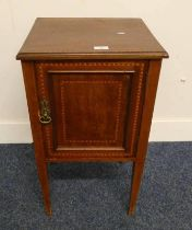 EARLY 20TH CENTURY INLAID MAHOGANY BEDSIDE CABINET ON TAPERED SUPPORTS
