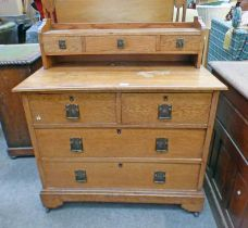 EARLY 19TH CENTURY OAK CHEST WITH DRAWERS OVER BASE OF 2 SHORT OVER 2 LONG DRAWERS ON BRACKET