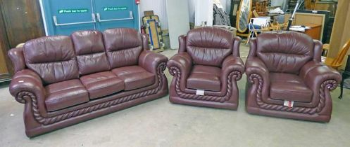 RED LEATHER OVERSTUFFED 2 SEATER SETTEE WITH MATCHING OVERSTUFFED ARMCHAIRS