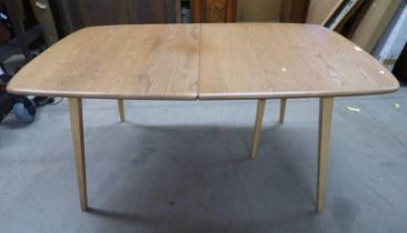 ERCOL BEECH BLONDE GRAND WINDSOR EXTENDING DINING TABLE WITH EXTRA LEAF AND LEG ON TAPERED SUPPORTS,
