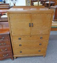 EARLY 20TH CENTURY INLAID MAHOGANY CABINET WITH 2 PANEL DOORS OVER 3 DRAWERS ON TURNED SUPPORTS,