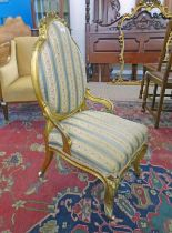 LATE 19TH CENTURY GILT FRAMED CHAIR ON CABRIOLE SUPPORTS