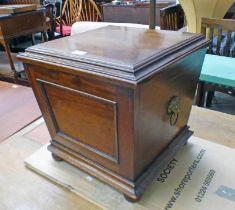 19TH CENTURY MAHOGANY COAL BOX WITH BRASS LION HEAD HANDLES