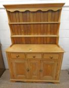 19TH CENTURY PINE DRESSER WITH PLATE RACK BACK OVER 3 DRAWERS OVER 2 PANEL DOORS 191CM