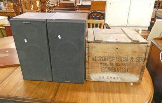 PINE BOX AND PAIR OF SPEAKERS