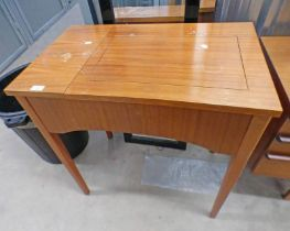 TEAK CASED SINGER SEWING MACHINE ON TAPERED SUPPORTS
