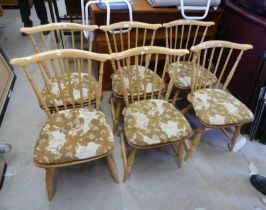 SET OF 6 ERCOL BEECH BLONDE STICK BACK DINING CHAIRS