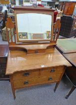LATE 19TH CENTURY OAK DRESSING TABLE WITH MIRROR AND FRIEZE DRAWER OVER 2 SHORT AND 1 LONG DRAWER