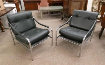 PAIR OF LATE 20TH CENTURY GREEN LEATHER & CHROME ARMCHAIRS 71CM TALL