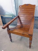 HARDWOOD PLANTER'S CHAIR ON TURNED SUPPORTS