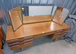 TEAK DRESSING TABLE WITH MIRROR OVER 4 DRAWERS ON TAPERED SUPPORTS,