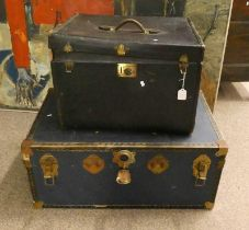 METAL BOUND TRUNK AND ONE OTHER