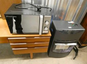 GAS POWERED HEATER AND RUSSELL HOBBS MICROWAVE