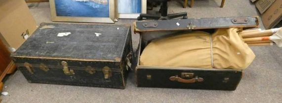 BOUND METAL TRUNK AND ONE OTHER TRUNK TO CONTAIN TENT POLES ETC