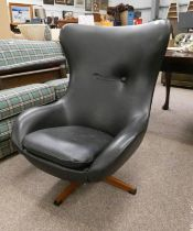 LATE 20TH CENTURY EGG STYLE SWIVEL ARMCHAIR 98CM TALL Condition Report: Creasing