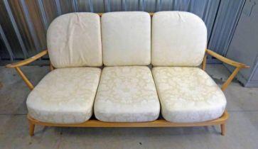 ERCOL BEECH 3-SEAT SETTEE