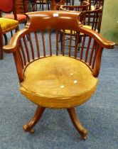 MAHOGANY FRAMED SWIVEL CAPTAINS CHAIR Condition Report: The item has typical age