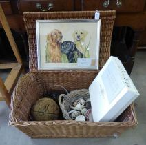 WICKER BOX WITH CONTENTS OF PHOTO ALBUMS, GLASS BUOYS,