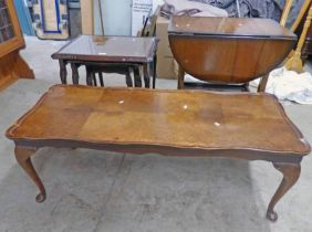 NEST OF 3 MAHOGANY TABLES WITH GLASS LEATHER INSERTS,