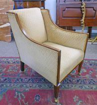 EARLY 20TH CENTURY MAHOGANY FRAMED ARMCHAIR WITH BOXWOOD CROSSBANDING ON TAPERED SUPPORTS