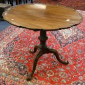 19TH CENTURY MAHOGANY FLIP TOP TABLE WITH TURNED COLUMN & SPREADING SUPPORTS 85CM WIDE