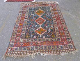 EASTERN RUG DECORATED WITH BLUE & RED, ETC,