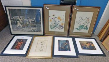 VARIOUS FRAMED VETTRIANO & OTHER PRINTS