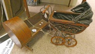 CHILDS PRAM AND A WOODEN DOLLS COT -2-