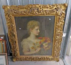 CAROL BAUSSLE PORTRAIT OF LADY WITH FLOWERS WITH OLD LABEL TO REVERSE GILT FRAMED OIL PAINTING 76