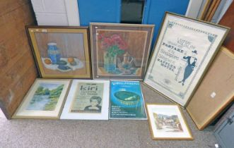 VARIOUS FRAMED POSTERS, WATERCOLOURS,