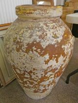 LARGE EARTHENWARE GARDEN URN 80CM TALL Condition Report: No large areas of damage.