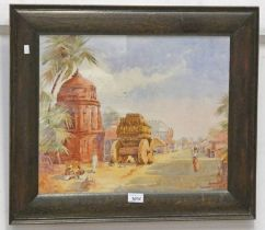 FRAMED WATERCOLOUR OF A MIDDLE EASTERN STREET SCENE, SIGNED MB, 38 X 46.