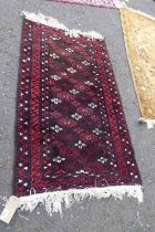 EASTERN RUG WITH MAROON & WHITE DECORATION,