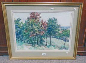 J REVILLE TREES SIGNED FRAMED WATERCOLOUR 39 X 54 CM