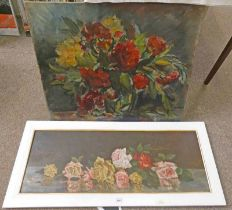OWEN BOWEN UNFRAMED PAINTING, SIGNED, 63 X 77 CM, AND A FRAMED OIL PAINTING OF FLOWERS,