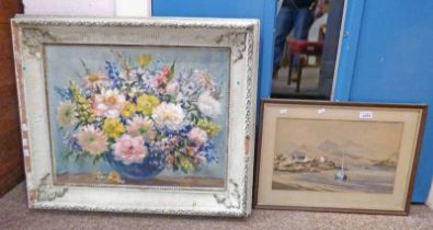 OIL PAINTING OF FLOWERS BY CAROLINE MILLER & FRAMED WATERCOLOUR BY ALAN CAPEY OF PLOCKTON