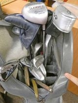GOLF CLUBS IN BAG TO INCLUDE A HICKORY SHAFTED BRASS HEADED PUTTER, NORRIE THOMSON PUTTER,