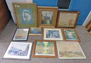 TWO RAY BRUGE FRAMED WATERCOLOURS & 3 OTHER PAINTINGS,