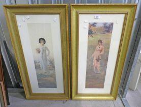 PAIR OF GILT FRAMED PICTURES OF WOMEN - 68 X 18 CM