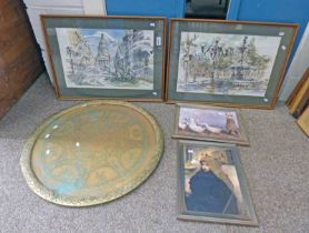 4 VARIOUS FRAMES WITH PRINTED PICTURES & A CIRCULAR BRASS PLATE 50CM