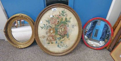 19TH CENTURY SEWNWORK FLOWERS IN FRAME WITH TWO ROUND MIRRORS