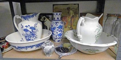 2 EWER AND BASIN SETS, 2 BLUE & WHITE ORIENTAL VASES, VARIOUS METALS ADVERTISING PLAQUES,