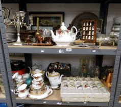 CUCKOO CLOCK, BRASS TRAY, GOOD SELECTION PORCELAIN & GLASSWARE OLD COUNTRY ROSES, TEASET,
